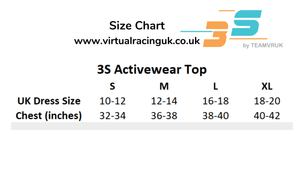 Illusion t shirt size chart 3S