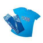 Sapphire Blue Short Sleeve TEE - Matching Peacocks