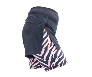 zebra animal print double layer shorts for women