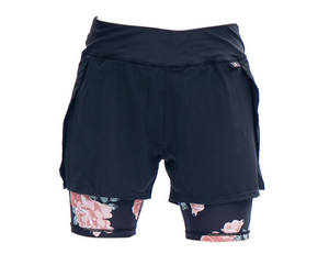 Blush roses ted baker style running shorts