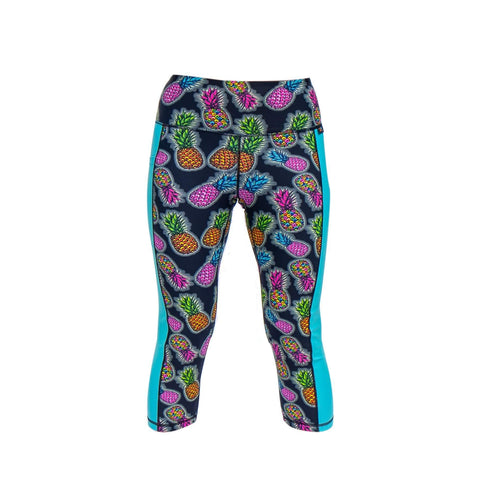 funky pineapple glow capri  leggings