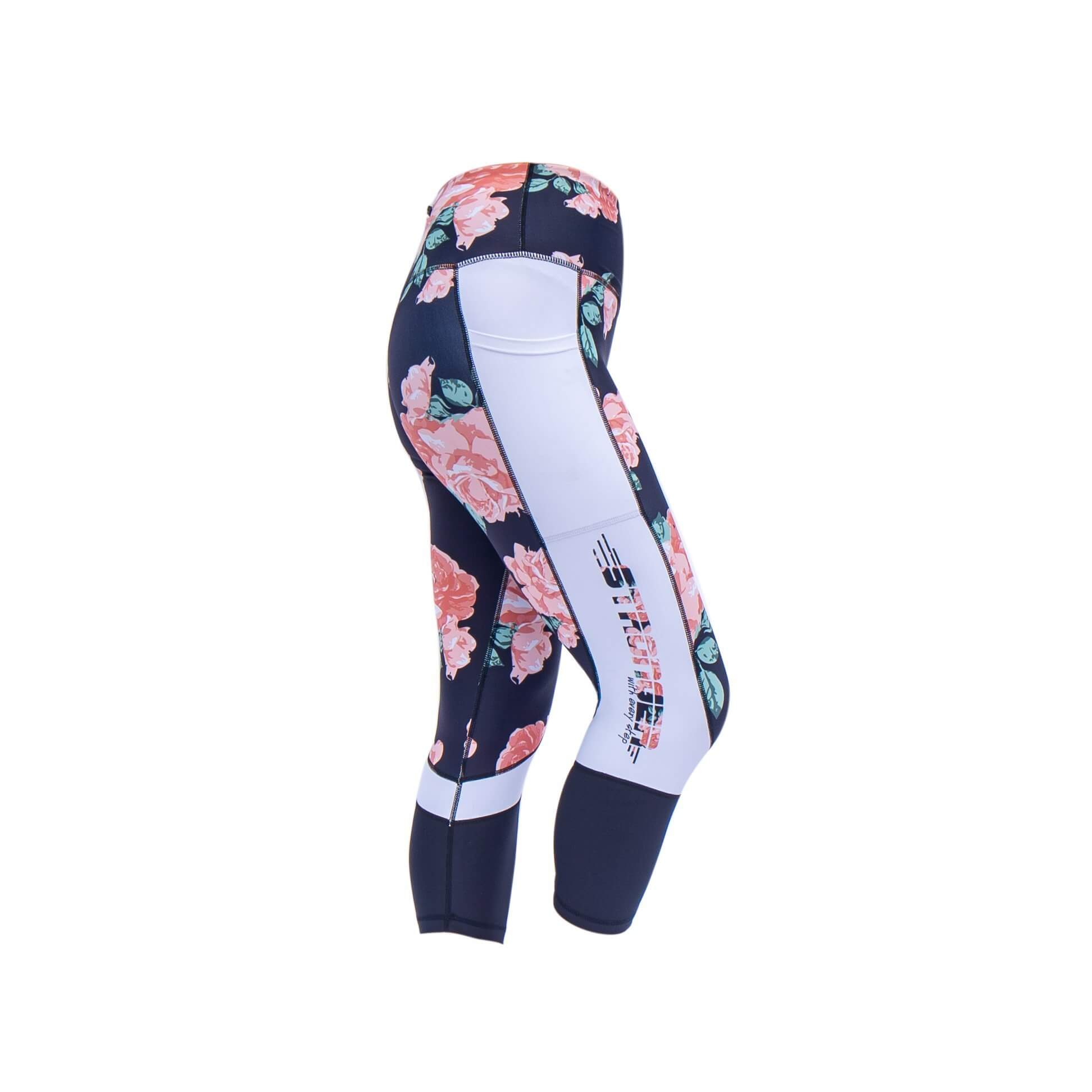 pretty roses illusion cropped leggings