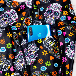 Sugar Skull Leggings Phone Pocket