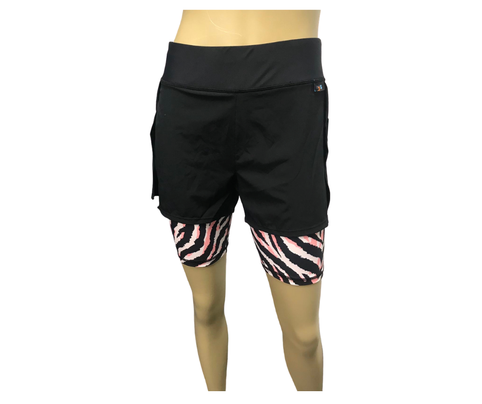 zebra animal print double layer shorts