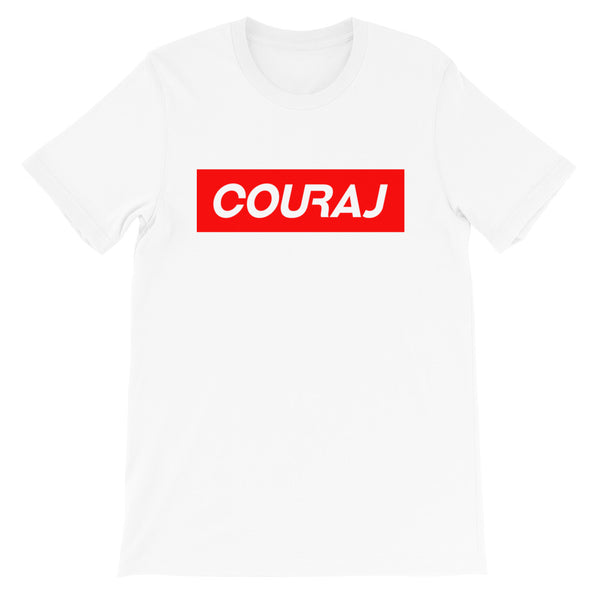 COURAJ Tee - Block Logo - White