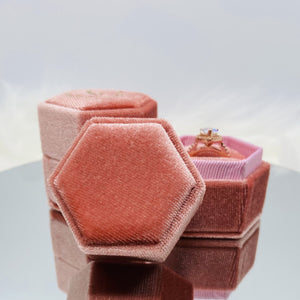 Single Slot Hexagon Velvet Ring Box