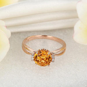 14K Rose Gold Floral Yellow Citrine Natural Diamond Ring