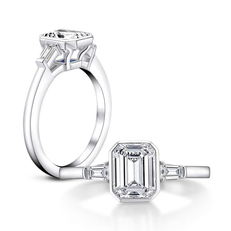 CVD Diamond Ring Rectangular emerald cut 1.5CT