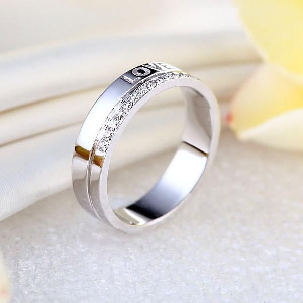 14K White Gold Love Wedding Band 0.12ct Natural Diamonds