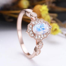 Rose Gold Oval Cut Moonstone Engagement Ring