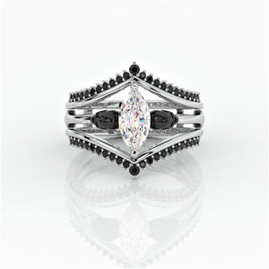 Perfect Match- Marquise Cut CVD Diamond Insert Skull Engagement Rings