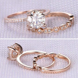 Rose Gold 2.0ct Round Cut Art Deco Bridal Set