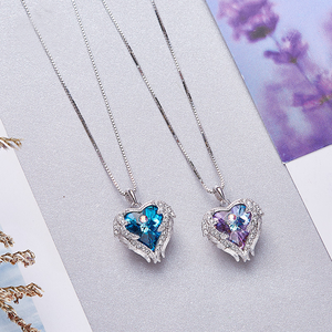Blue Crystal Angel Wings Heart Shaped Women's Necklace