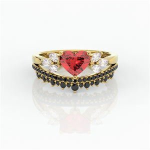 Forever In My Heart- 1.25ct Heart Cut CVD Diamond Gothic Promise Ring