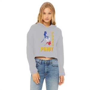 Proud Pinoy Ladies Cropped Raw Edge Hoodie