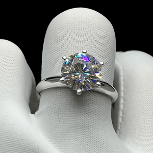 CVD Diamond Ring Six Prong Solitaire