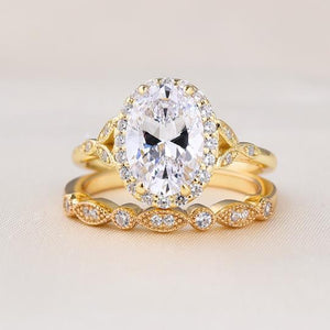 Yellow Gold 2.0ct Oval Cut Wedding Set