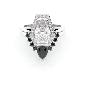 Faithfulness-1ct Black Pear Cut Moissanite 14k White Gold Coffin Ring Set
