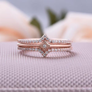 Rose Gold Halo Round Cut 3PC Wedding Band Sets
