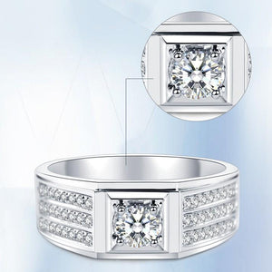 Delicate Men's Ring Rows Of CVD Diamonds