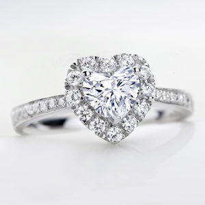 CVD Diamond Double Heart Shape Face Ring 2.0CT