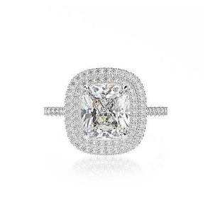 Double Halo Cushion Cut Wedding Ring Set In White Gold