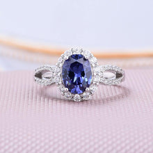 1.0 Carat Blue Sapphire Oval Cut Halo Engagement Ring