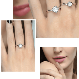 CVD Diamond Ring Exquisite Six-petal Snowflake