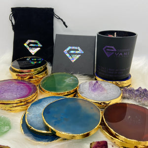 Onyx Natural Agate Luxury Round Coasters - Black Diamonds New York