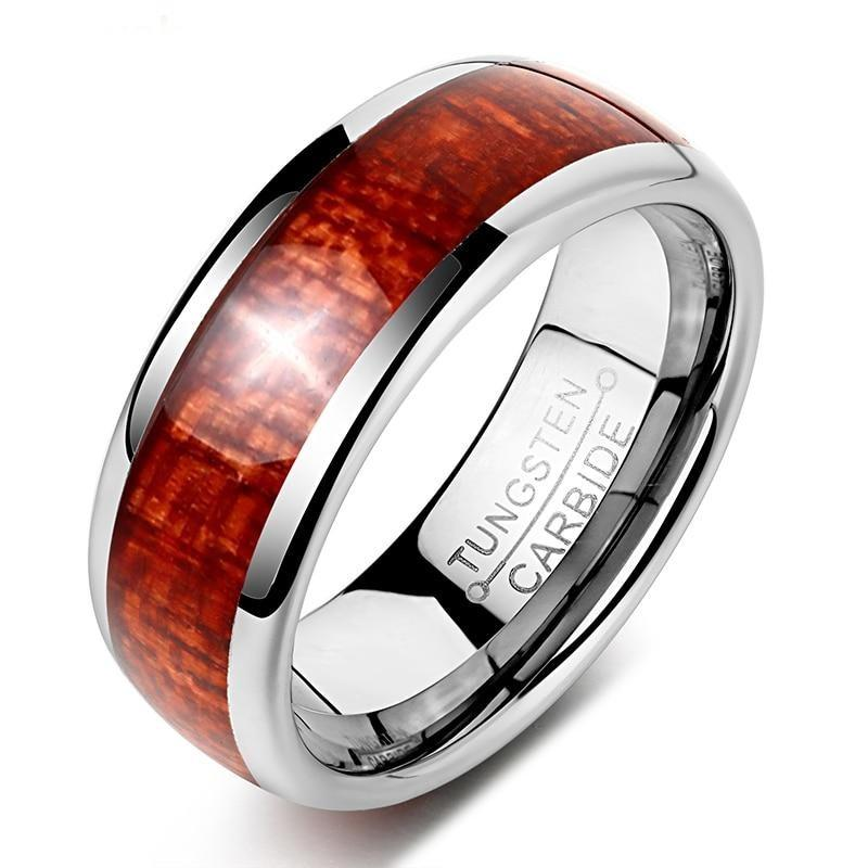 8mm Tungsten Carbide with Wood Inlay Men's Wedding Band
