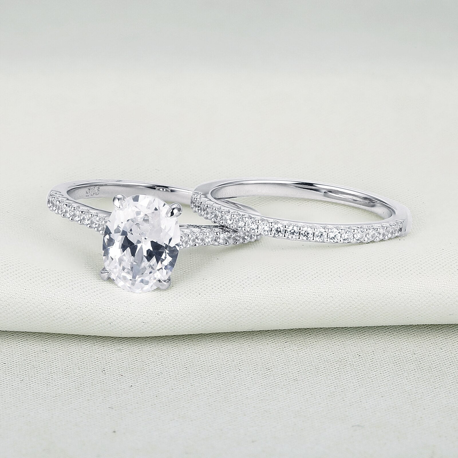 2pcs 925 Sterling Silver 1.9Ct Oval Cut Zircon Ring