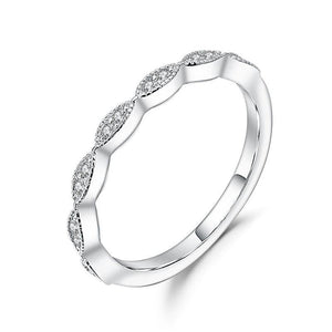 Round Scalloped Moissanite Stackable Ring Band