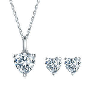 D Color Heart Moissanite Diamond Necklace and Earrings Set