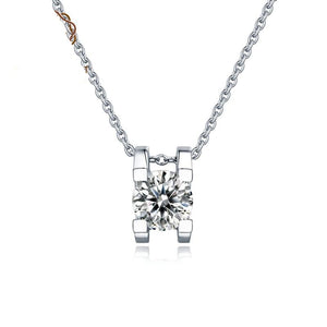 1ct 6.5mm Round Cut Moissanite Diamond Pendant Necklace