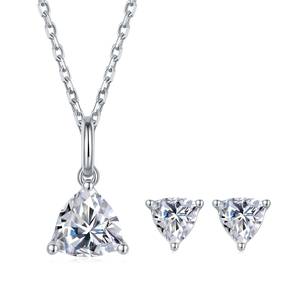 2CT Trillion Cut Moissanite Diamond Necklace and Earrings