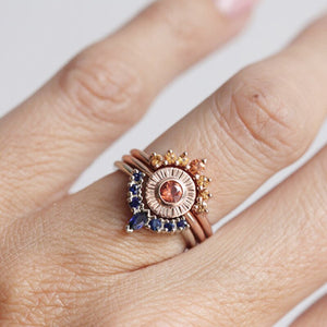 Retro Three-layer CVD Diamond Sun and Flower Ring
