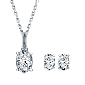 Oval Brilliant Moissanite Necklace Earrings Sets For Women Wedding