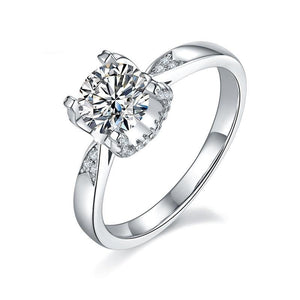 1ct D Color Moissanite Ring Within Elegant Claw Prongs
