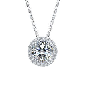 Brilliant-Cut Moissanite Diamond Earrings and Necklace