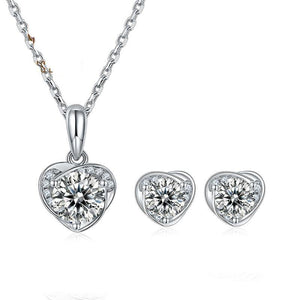 Heart Pendant Necklace and Earring Moissanite Diamond Set