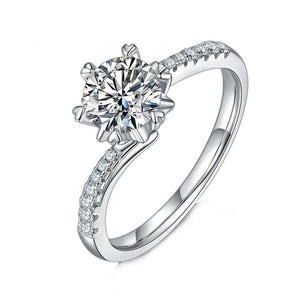 1Ct VVS1 Snowflake Moissanite Diamond Engagement Ring