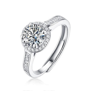 1.0Ct D Color Twinkle Stone Moissanite Diamond Engagement Halo Ring
