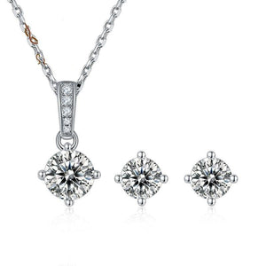 Round Moissanite Diamond Solitaire Pendant Necklace and Earrings Set