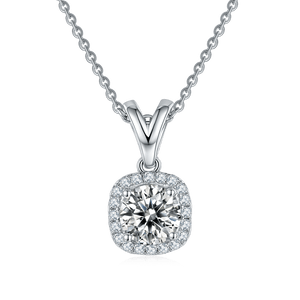 VVS1 Moissanite Diamond Solitaire Pendant Necklace and Earrings