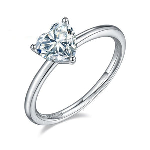 Heart 1.0Ct 6.5mm Moissanite Ring