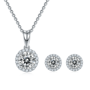 1.0ct 6.5mm Pendant Necklace 0.5ct 5mm Earrings Moissanite Diamond