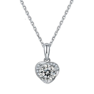 6.5mm 1.0Ct D Color Moissanite Diamond Heart Pendant Necklace