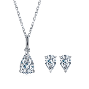 Pear Moissanite Stud Earrings and Necklace