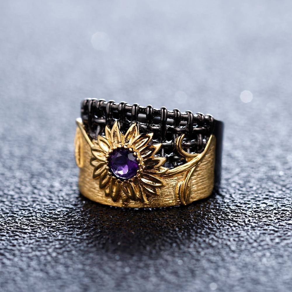 0.28Ct Natural Amethyst Gemstones Chrysanthemum Ring