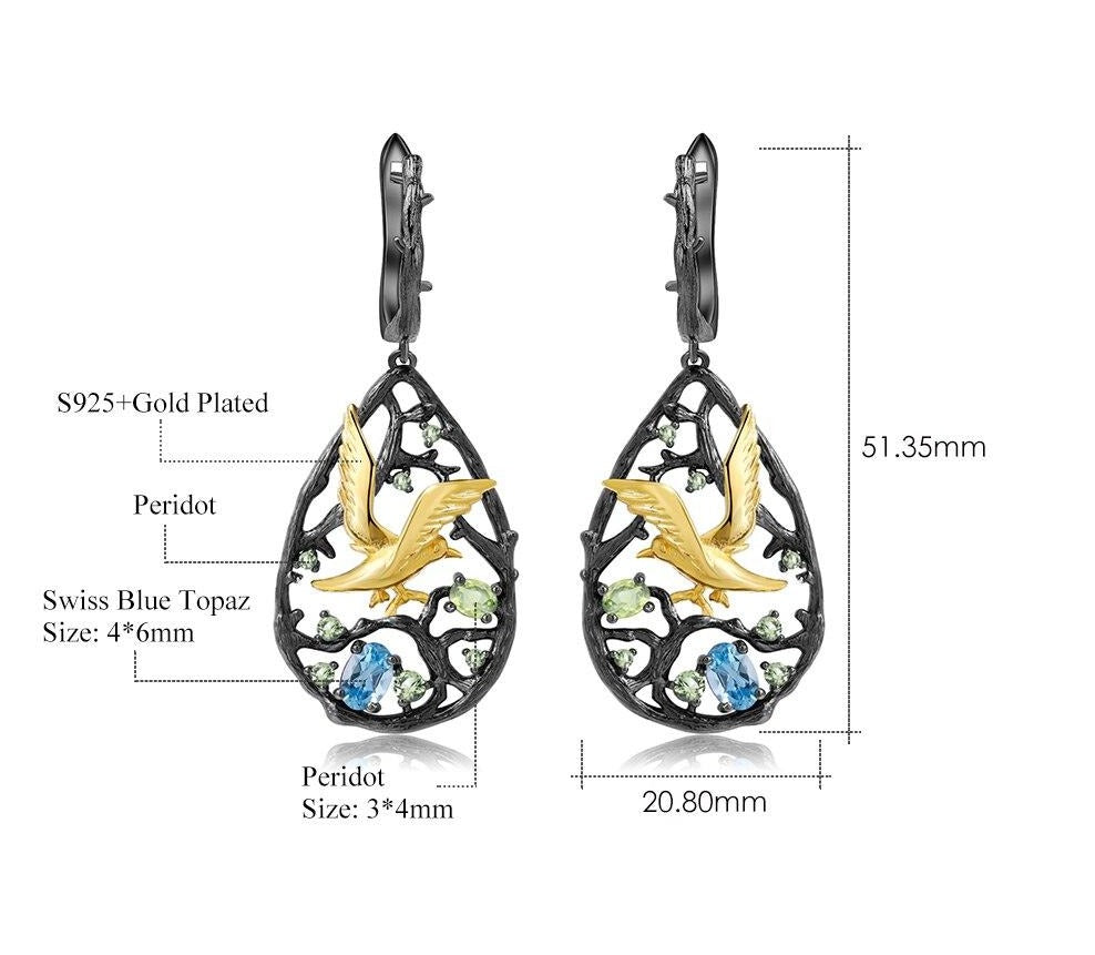Natural Swiss Blue Topaz Gemstones Handmade Bird on the Tree Drop Earrings